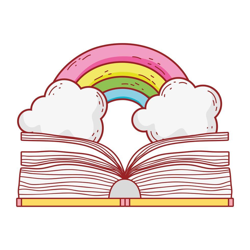 öppen bok regnbåge fantasy litteratur tecknad isolerad design vektor