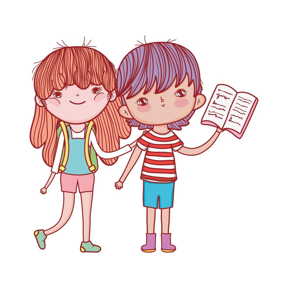 liten flicka med ryggsäck och pojke som läser boktecknad film vektor