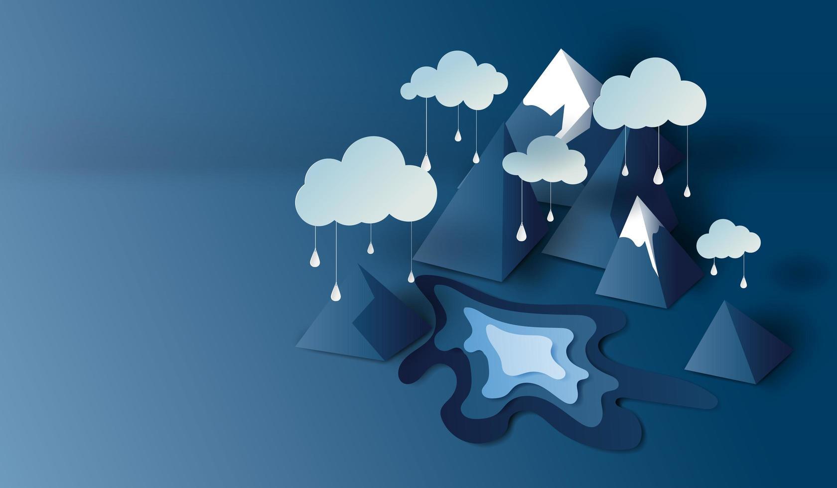 Papierschnittkunst mit 3d Bergansicht und Wolkenfahnenhintergrund vektor