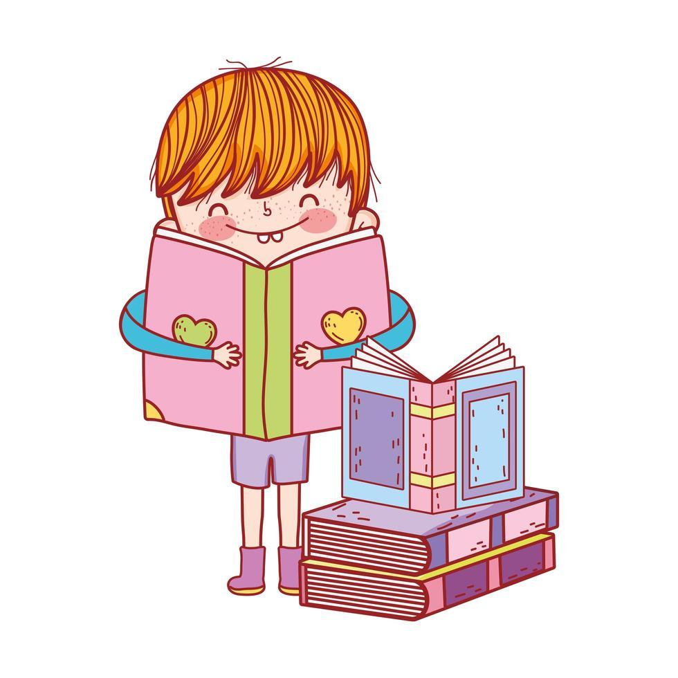 söt liten pojke med öppen bok i böcker isolerad design vektor