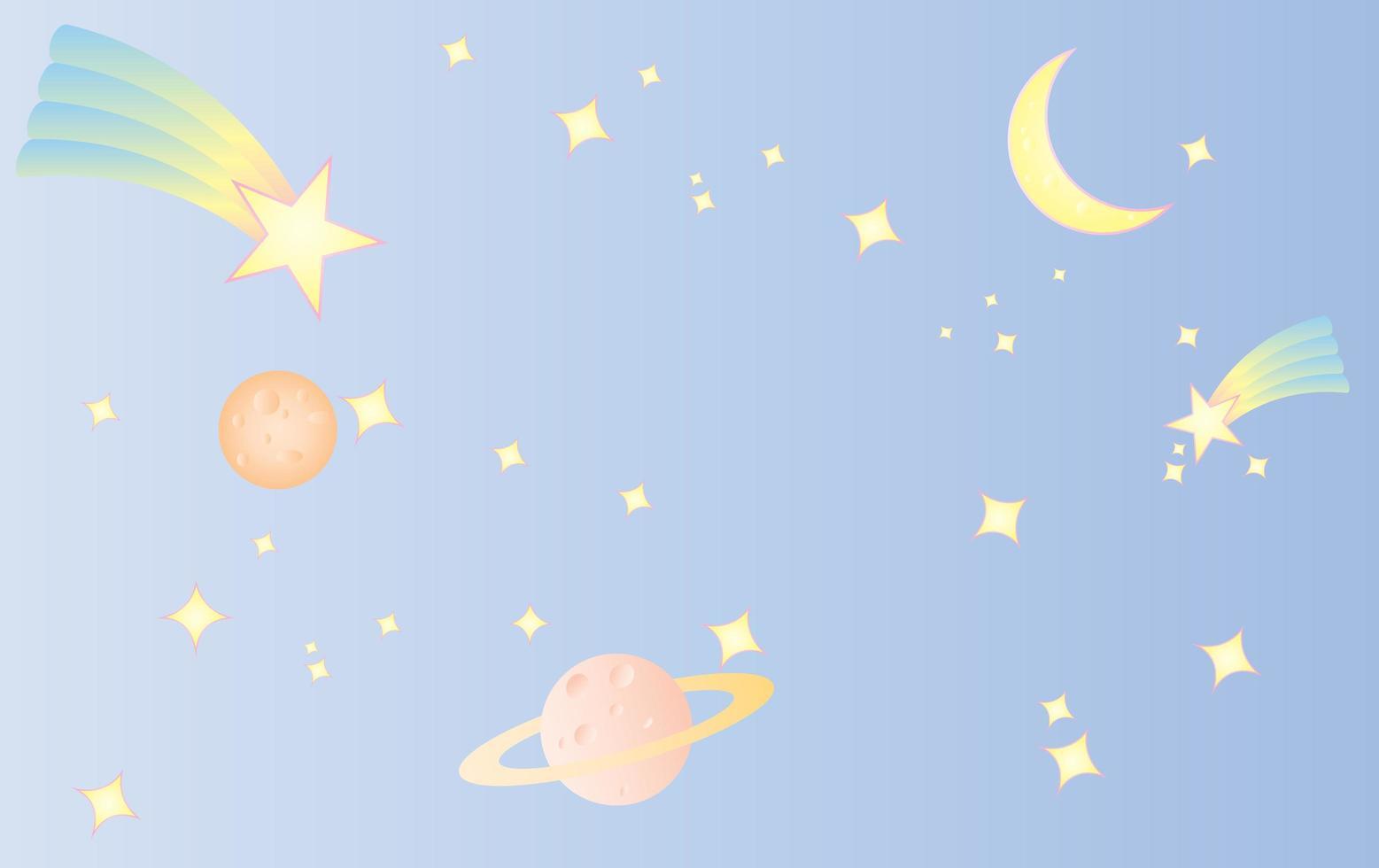 Raum und Kosmos süßer süßer pastellrosa Hintergrund vektor