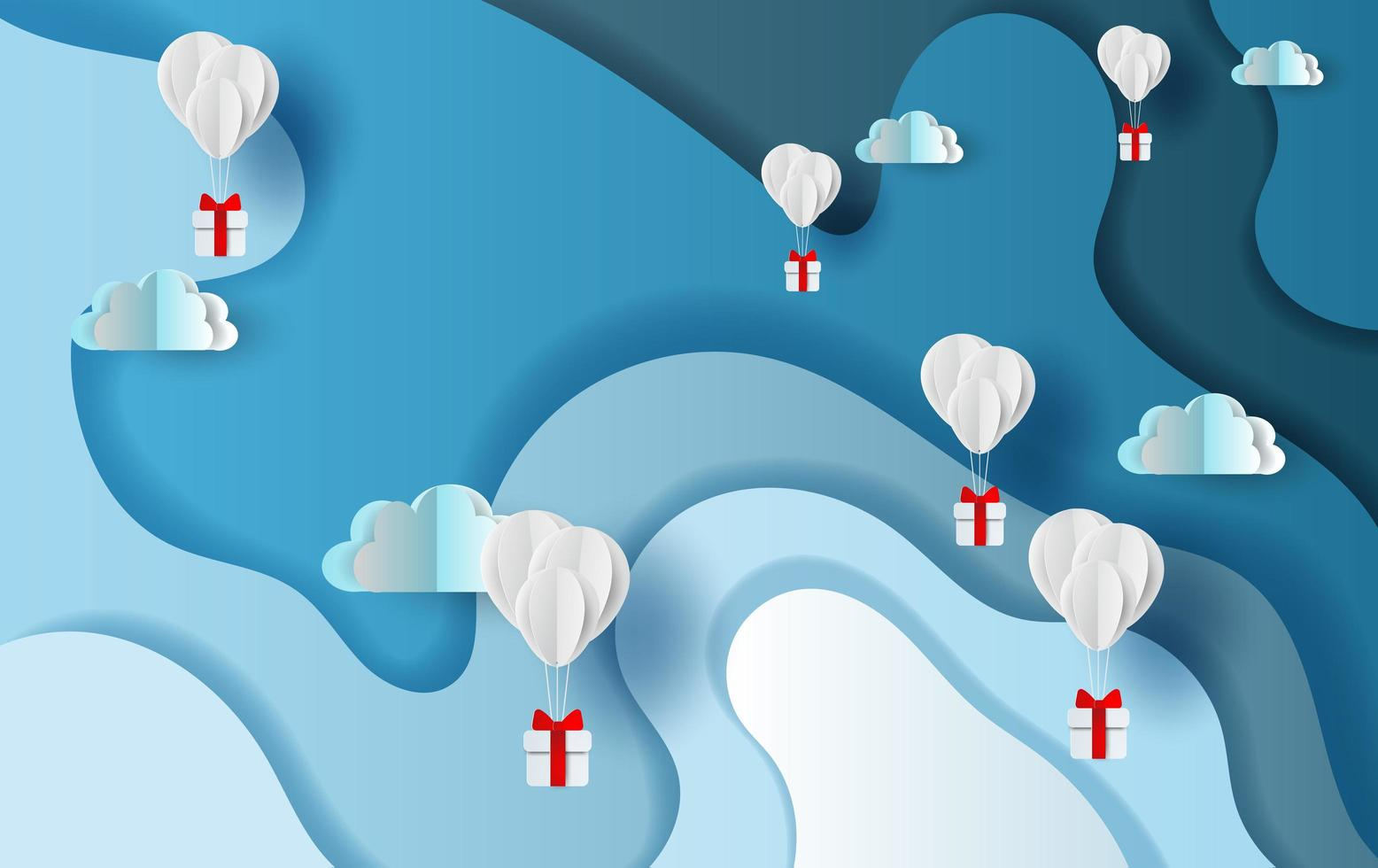 Papierkunst Banner mit Heißluftballons und Geschenkboxen vektor