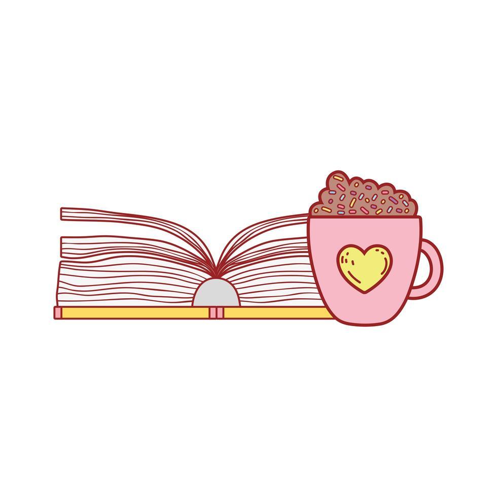 öppen bok med smoothie choklad kopp tecknad isolerad design vektor