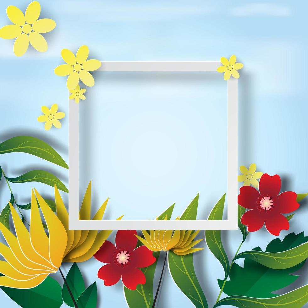 Papierkunst mit Blumenrahmen vektor