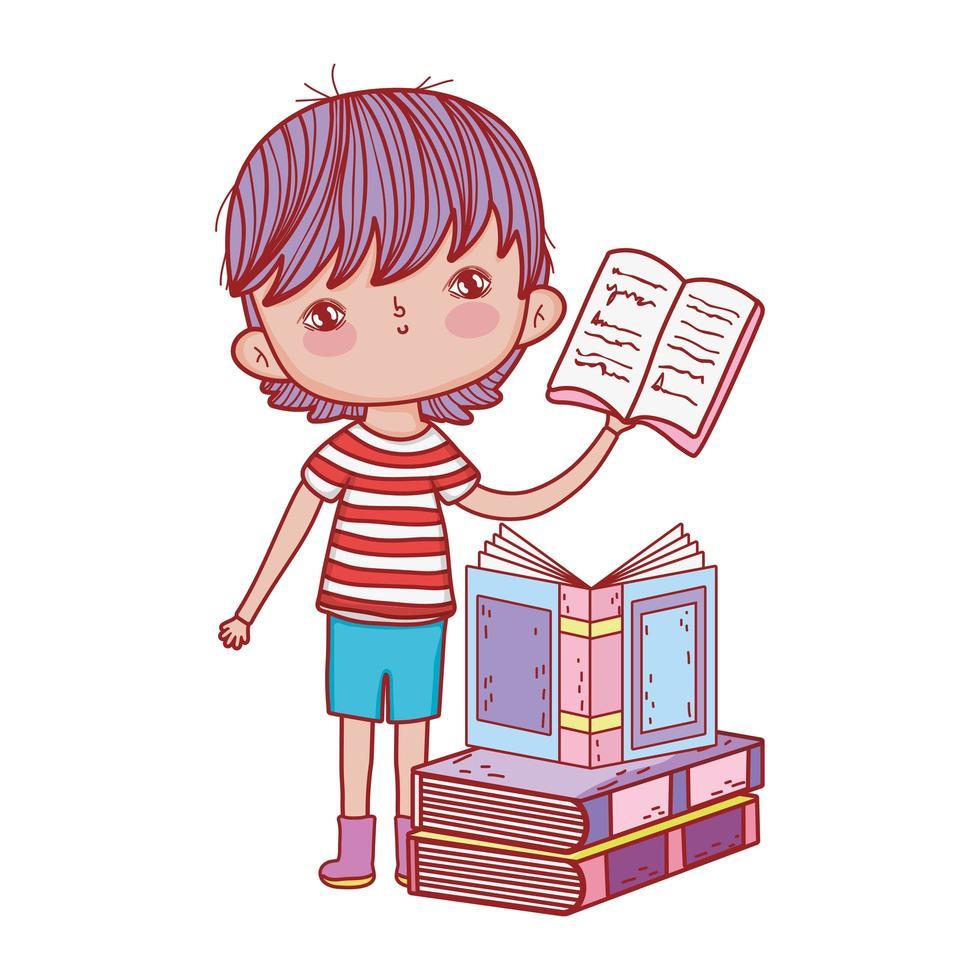 kleiner Junge, der offenes Buch gestapelte Bücher isoliertes Design hält vektor