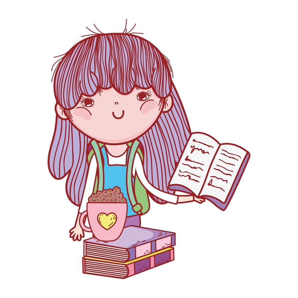 kleines Mädchen, das Buch und Schokoladenbecher auf Büchern hält vektor