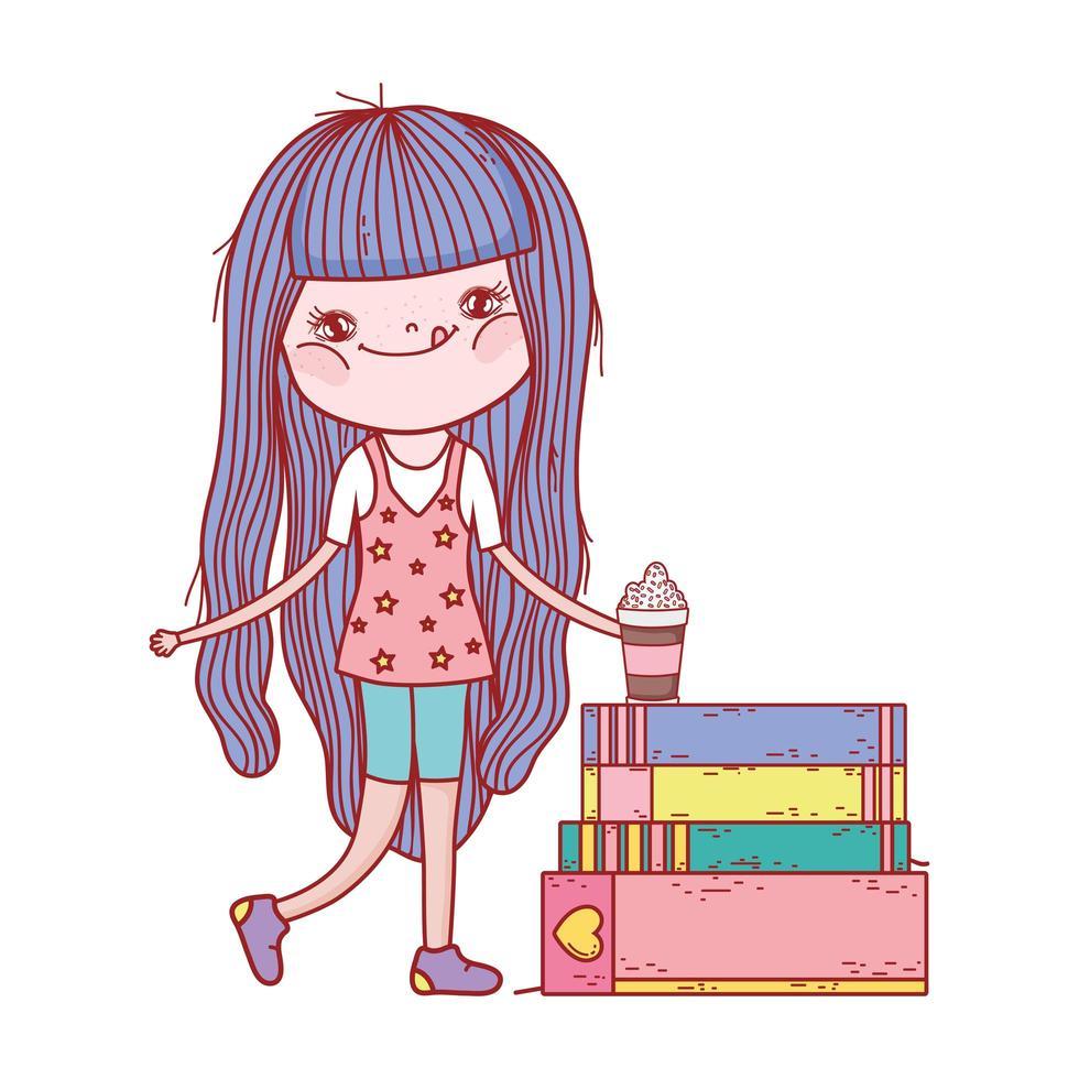 kleines Mädchen mit Smoothie und gestapelten Büchern isoliertes Design vektor