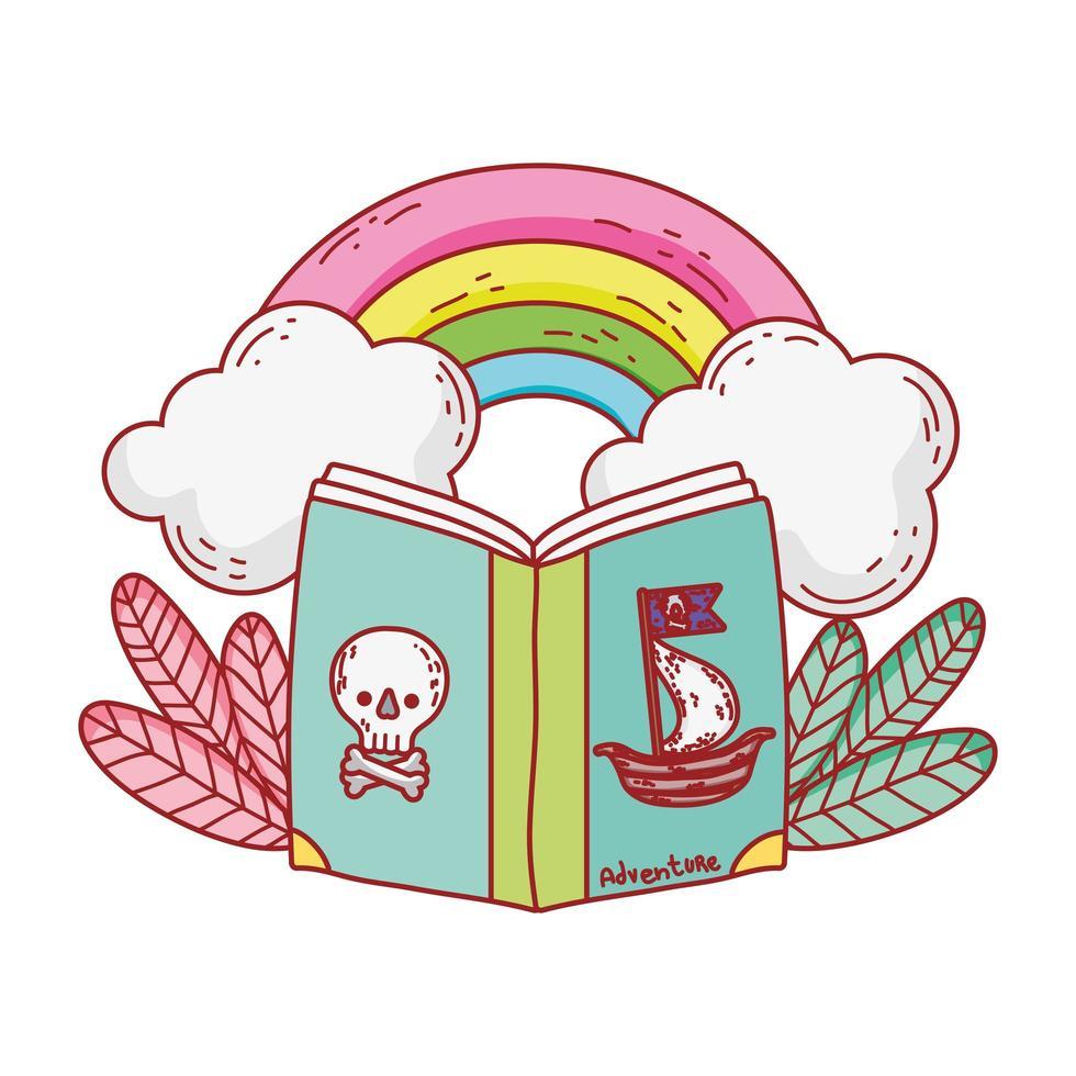 Buch der Piraten Regenbogenwolken Pflanzen Cartoon vektor
