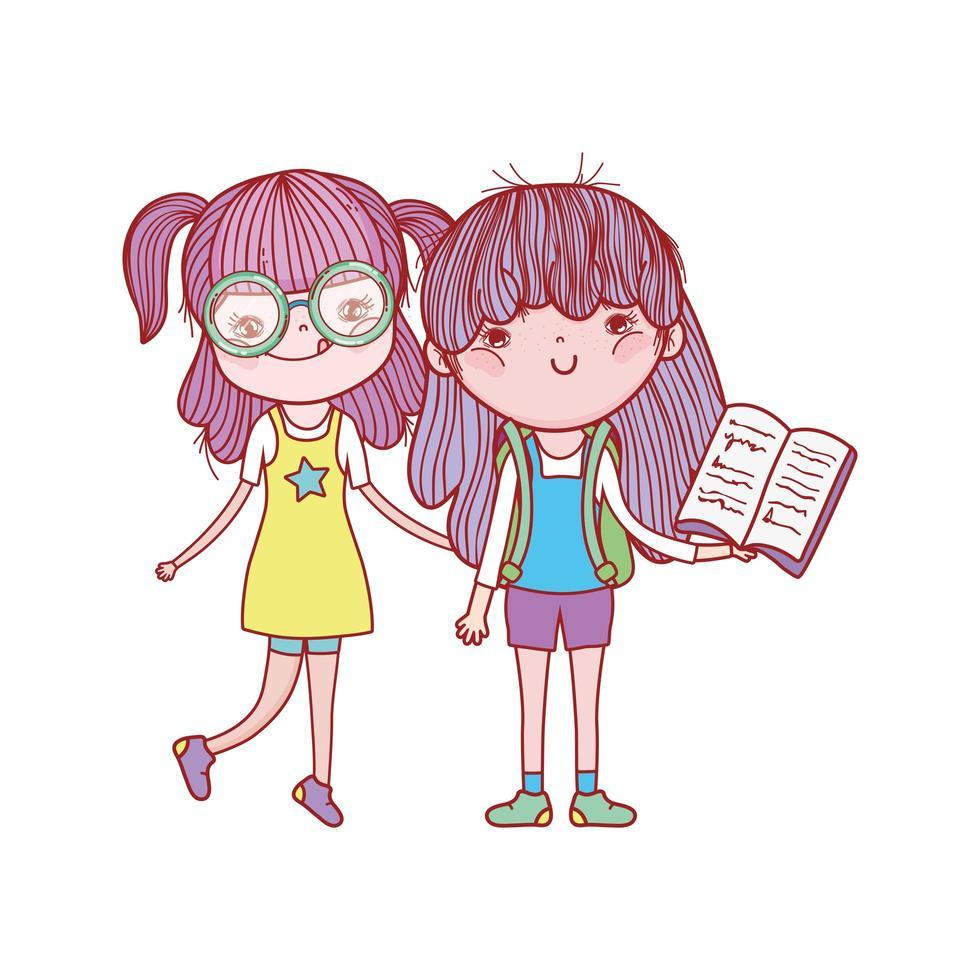 söt flicka med glasögon och flicka med öppen bok isolerad ikon vektor