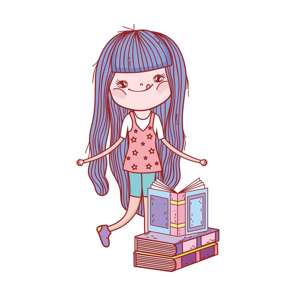 liten flicka med smoothie och staplade böcker isolerad design vektor
