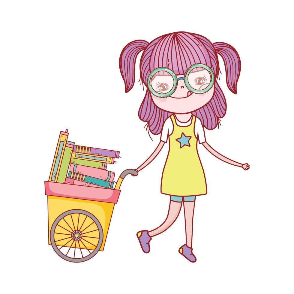 söt flicka och vagn med många böcker isolerad ikon vektor
