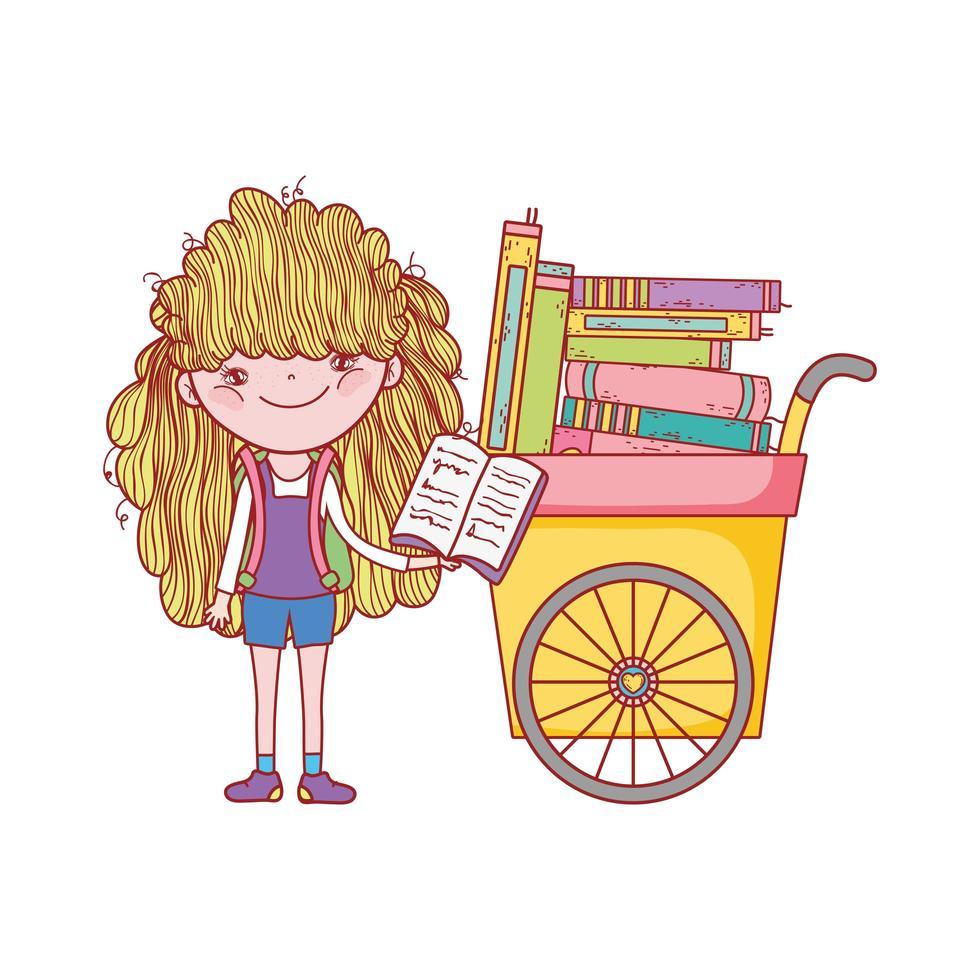 söt tjej läser bok och vagn med många böcker vektor