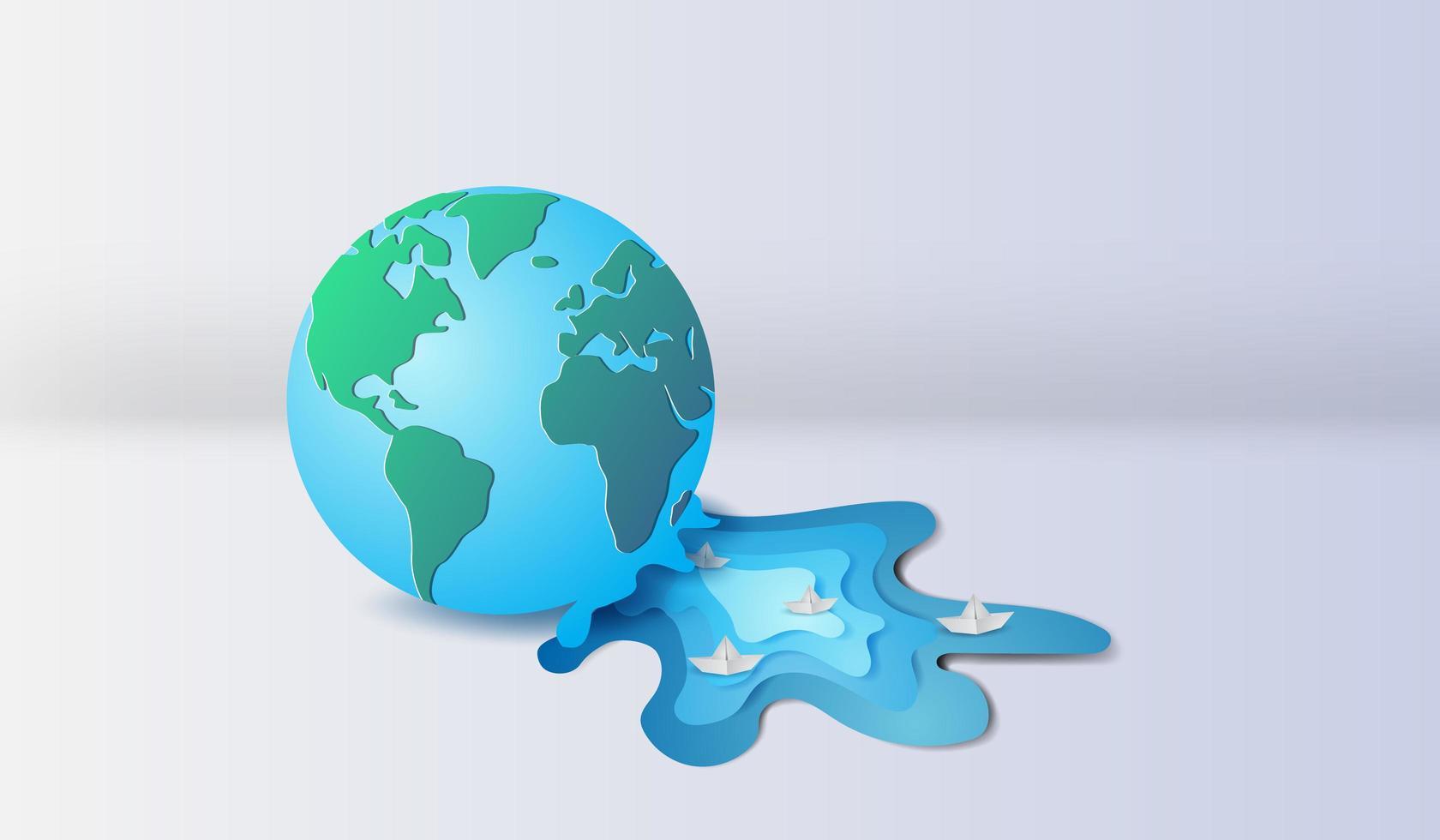 Konst för papper 3d av planeten jorden med segelbåtar. miljö koncept vektor