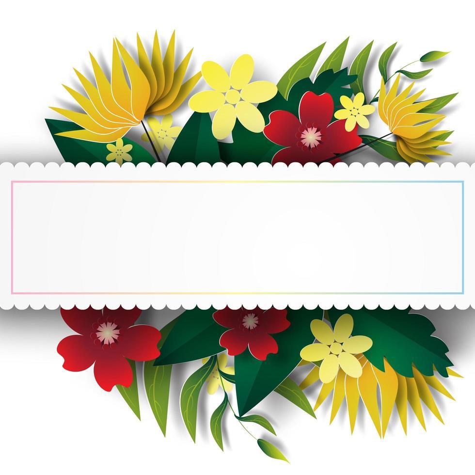 papperskonst med blommig ram vektor