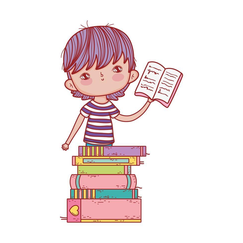 liten pojke som håller staplade böcker för öppen bok vektor