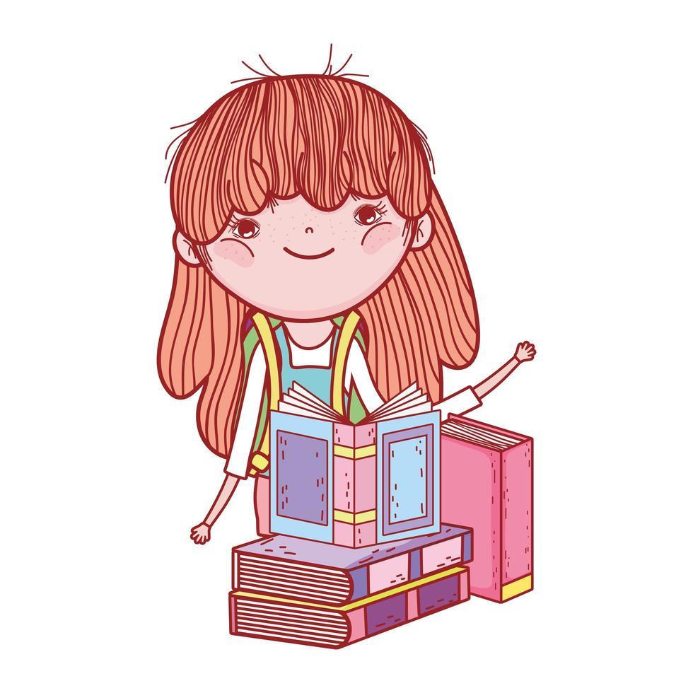 söt liten flicka med böcker studera litteratur tecknad vektor