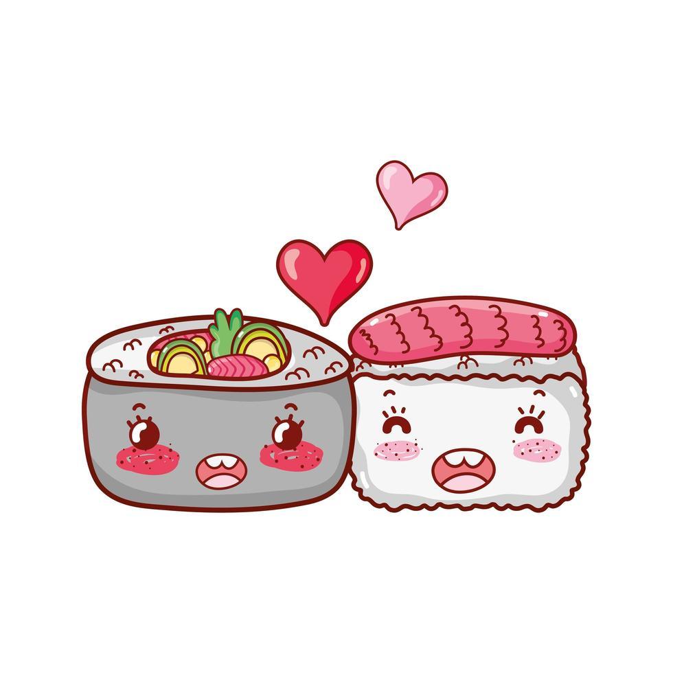 kawaii Sushi Fisch und Gemüse lieben Essen japanische Cartoon, Sushi und Brötchen vektor