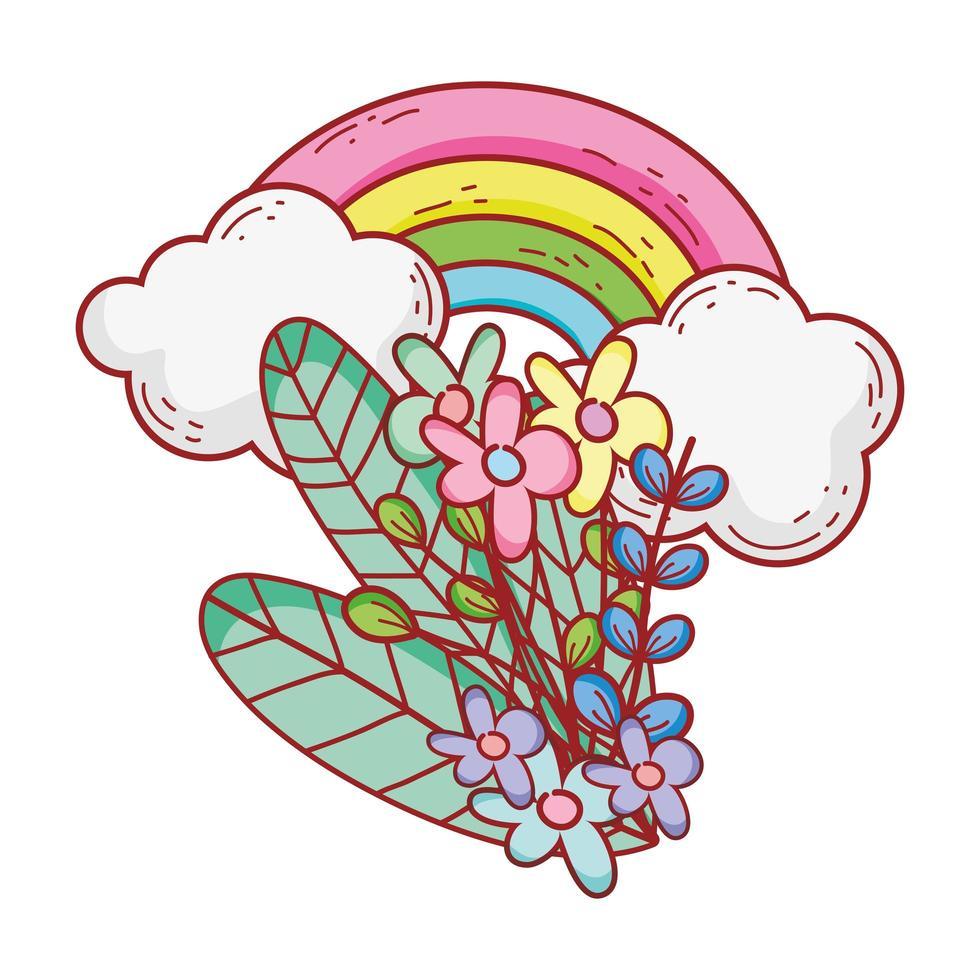 Regenbogenblumen Laubwolken Naturkarikatur lokalisierte Ikonendesign vektor