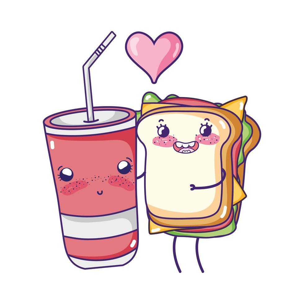 Fast Food niedlichen Sandwich und Pommes Frites Cartoon vektor