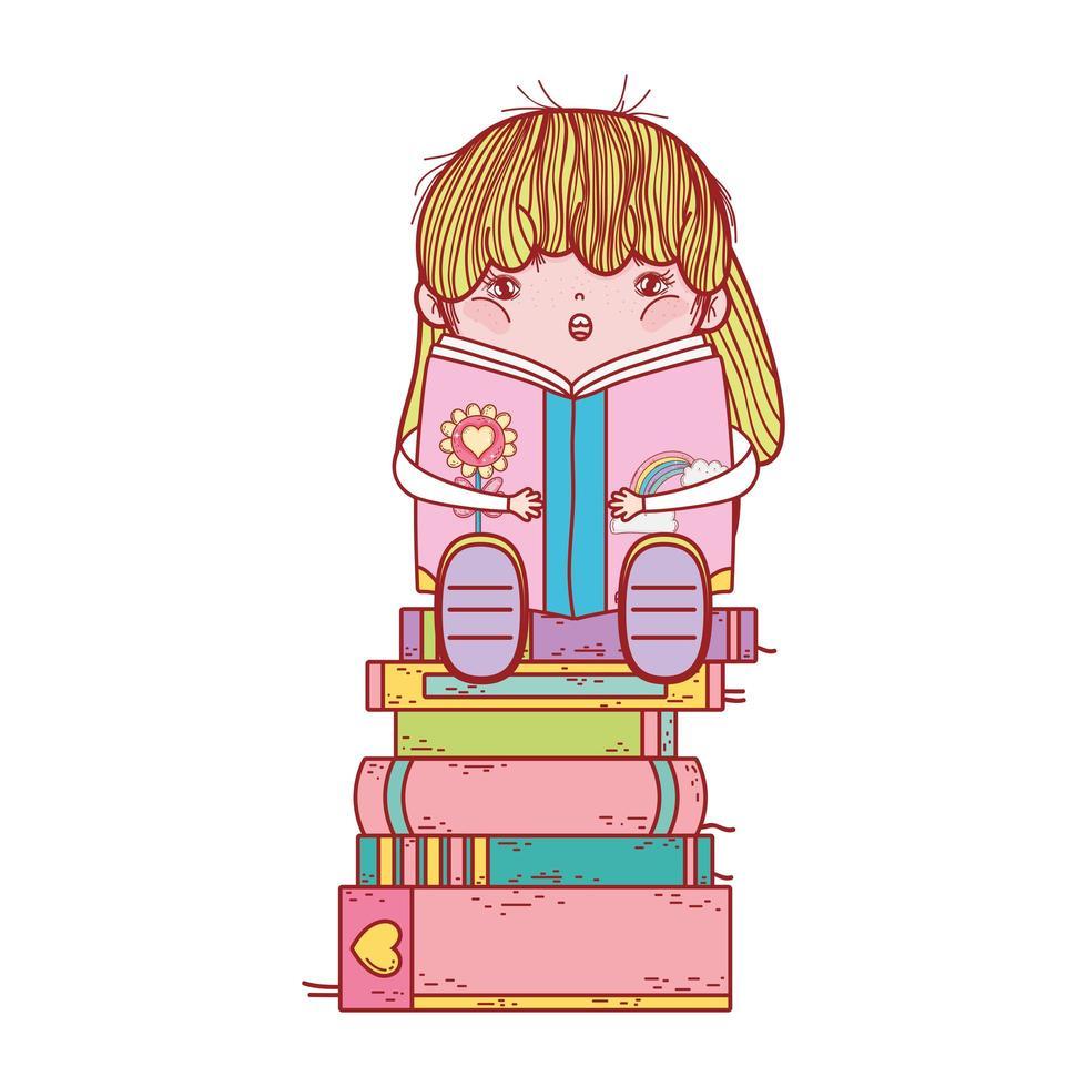 süßes Mädchen mit Smoothie und gestapelten Büchern isoliertes Design vektor