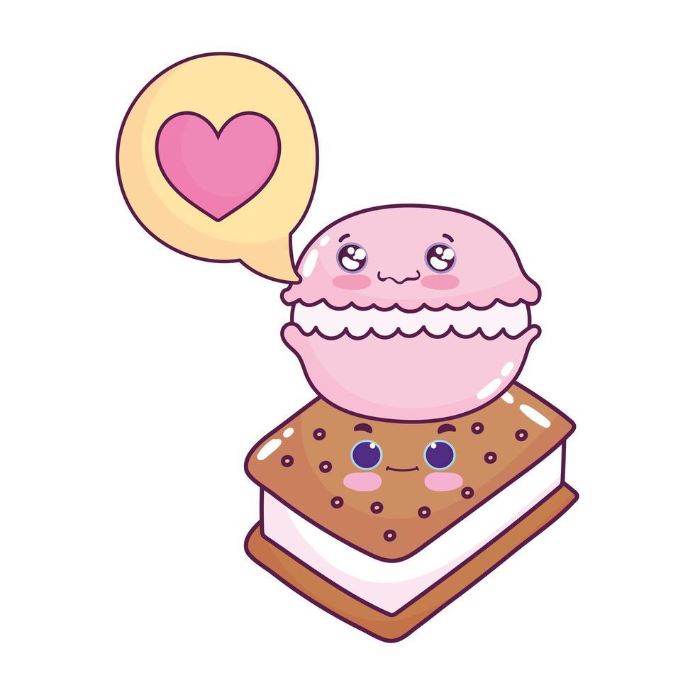 süßes Essen Eis Makrone Liebe Herz süßes Dessert Gebäck Cartoon isoliert Design vektor