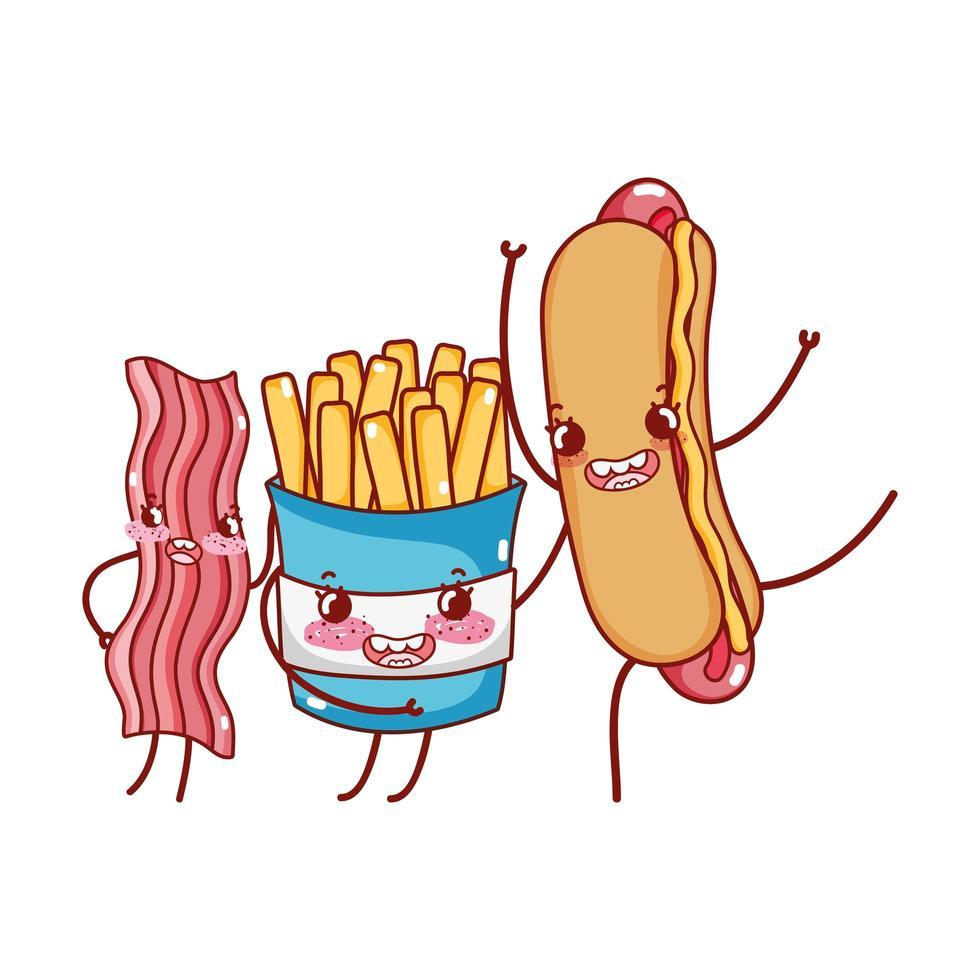 Fast Food niedlichen Pommes Frites Speck und Hot Dog Cartoon vektor