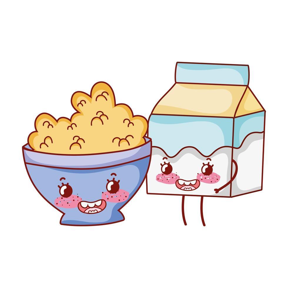 Frühstück süße Schüssel mit Müsli und Milchbox Cartoon vektor
