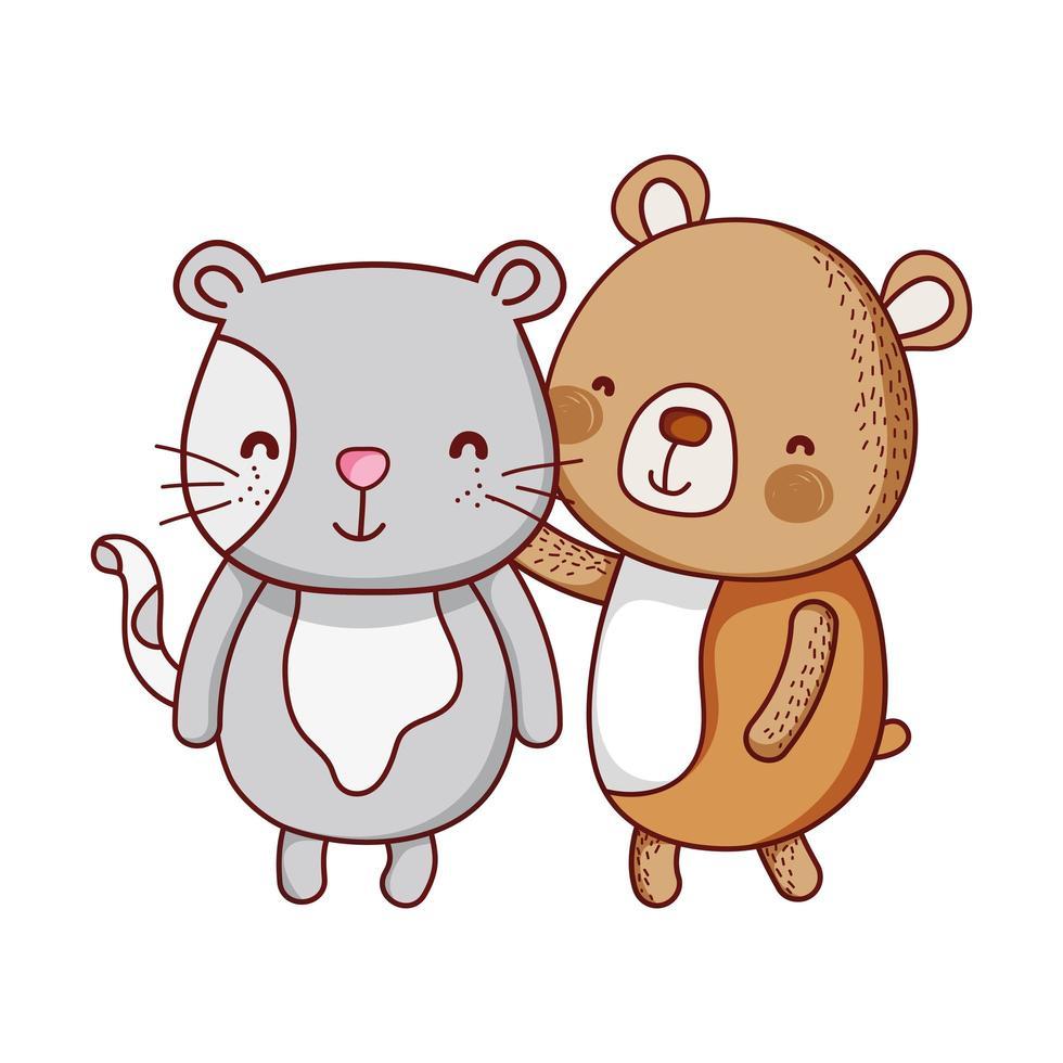 niedliche Tiere, Bären- und Katzenkarikatur isolierte Ikone vektor