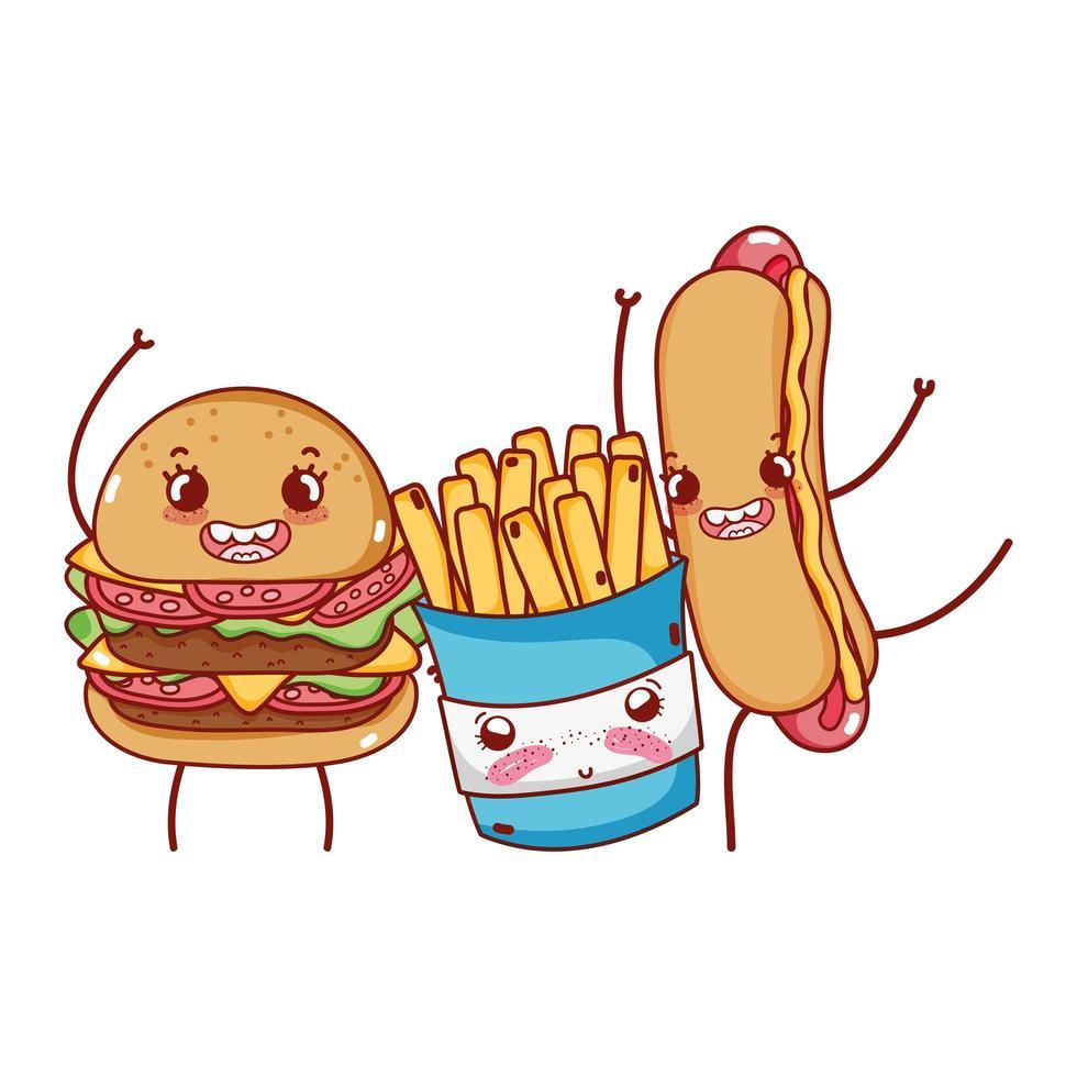 Fast Food niedlichen Burger Pommes Frites und Hot Dog Cartoon vektor