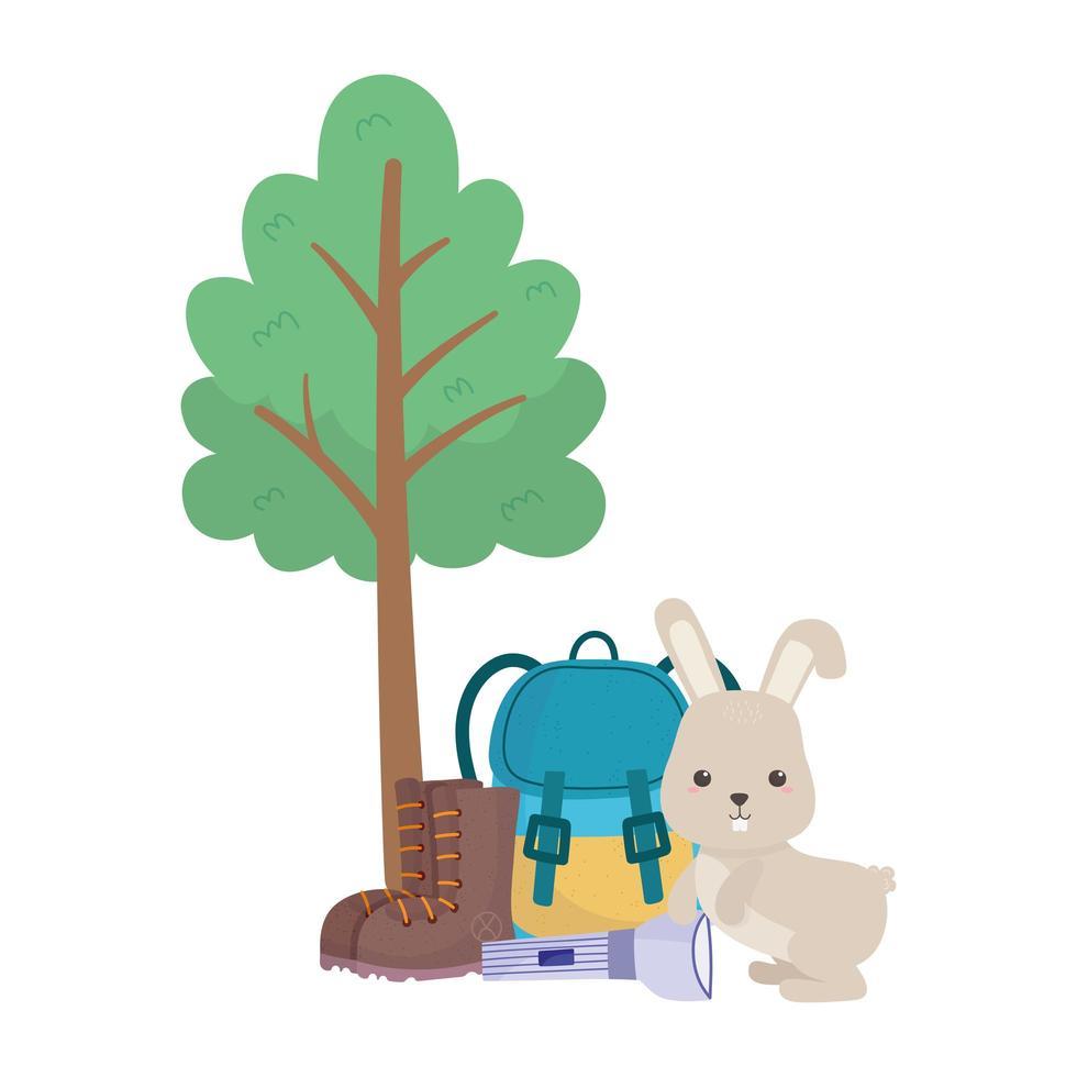 Camping niedlichen Kaninchen Rucksack Taschenlampe Stiefel Baum vektor
