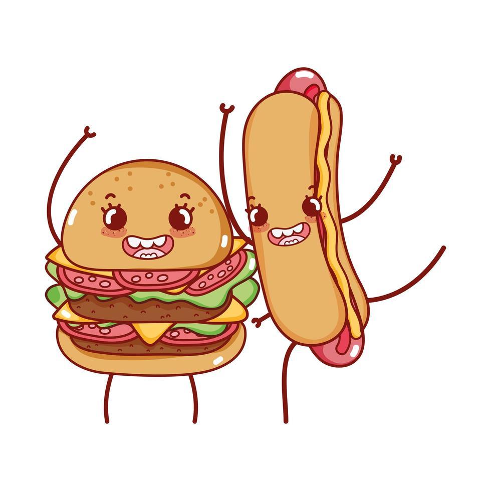 Fast Food niedlichen leckeren Burger und Hot Dog Cartoon vektor