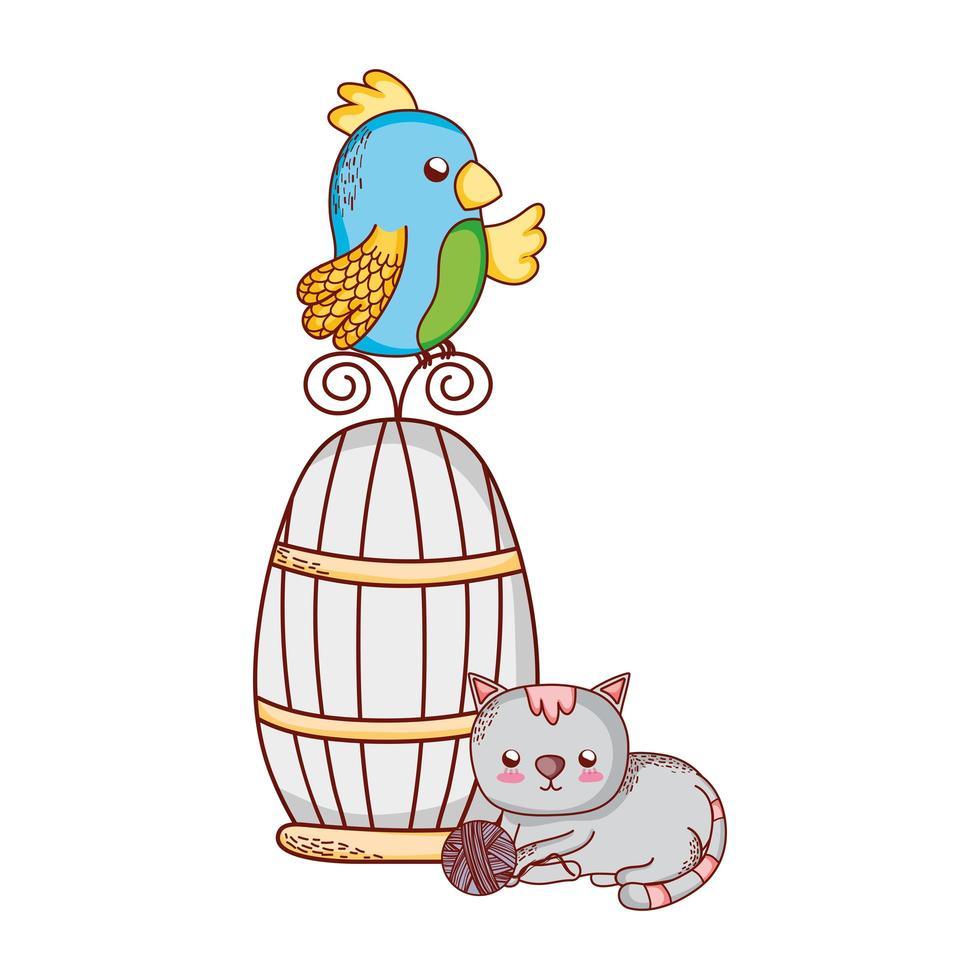 niedliche Tiere, Papagei auf Käfigkatze mit Ballnaturkarikatur vektor