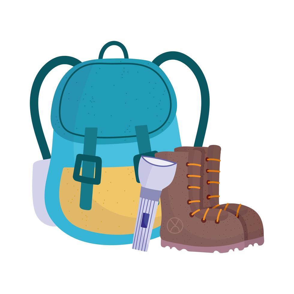 Camping Rucksack Stiefel und Taschenlampe Ausrüstung Cartoon vektor