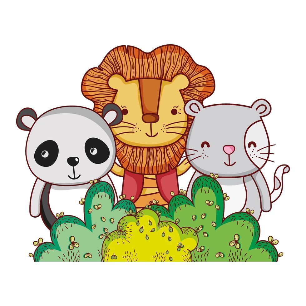 niedliche Tiere, Löwenpanda und Katze Natur Laub Busch Natur botanisches Design vektor