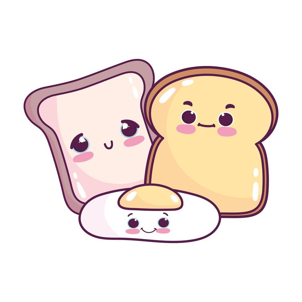 niedliches Essen Frühstücksscheibe Brot und Spiegelei süßes Dessert Gebäck Cartoon isoliert Design vektor
