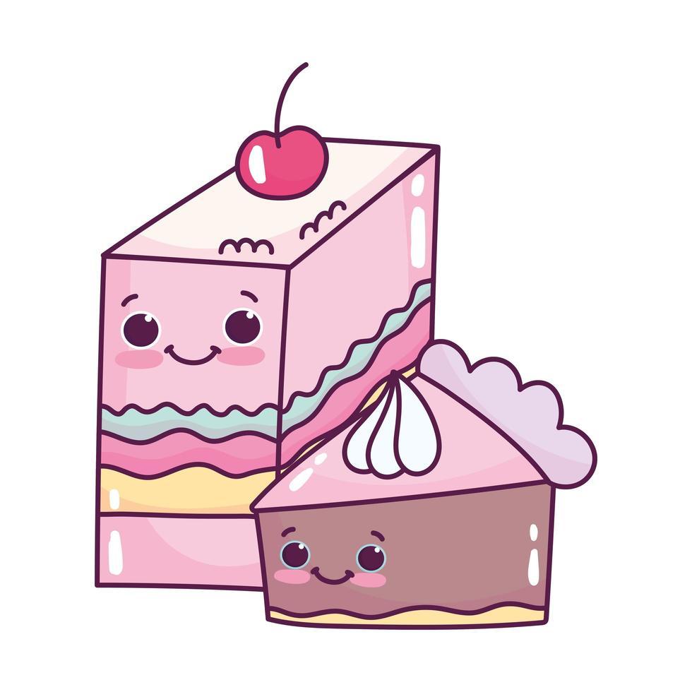 niedliches Essen Scheibe Gelee mit Obst und Scheibe Kuchen süße Dessert Gebäck Cartoon isoliert Design vektor