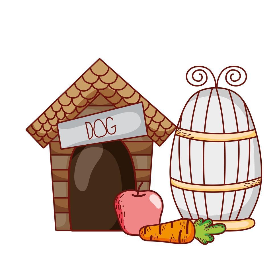 süße Tiere, Holzhaus Apfel Karotten Cartoon vektor