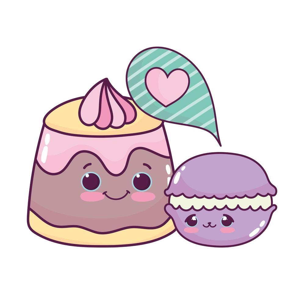 süßes Essen Gelee Creme und Makrone süßes Dessert Gebäck Cartoon isoliert Design vektor
