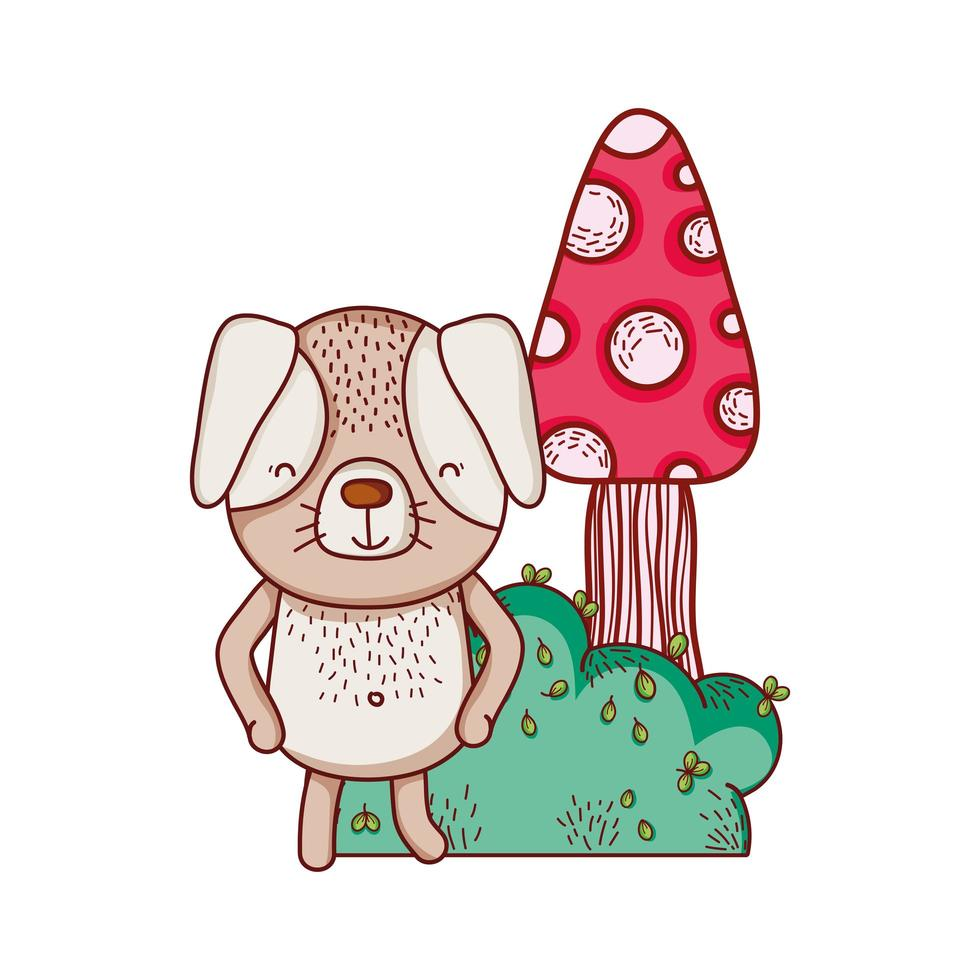 niedliche Tiere, kleiner Hund Pilz Laub Busch Cartoon vektor