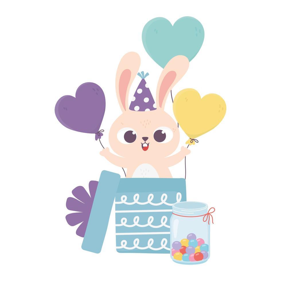 Glücklicher Tag, Kaninchen mit Hut, das Geschenkbox mit Luftballons herauskommt vektor