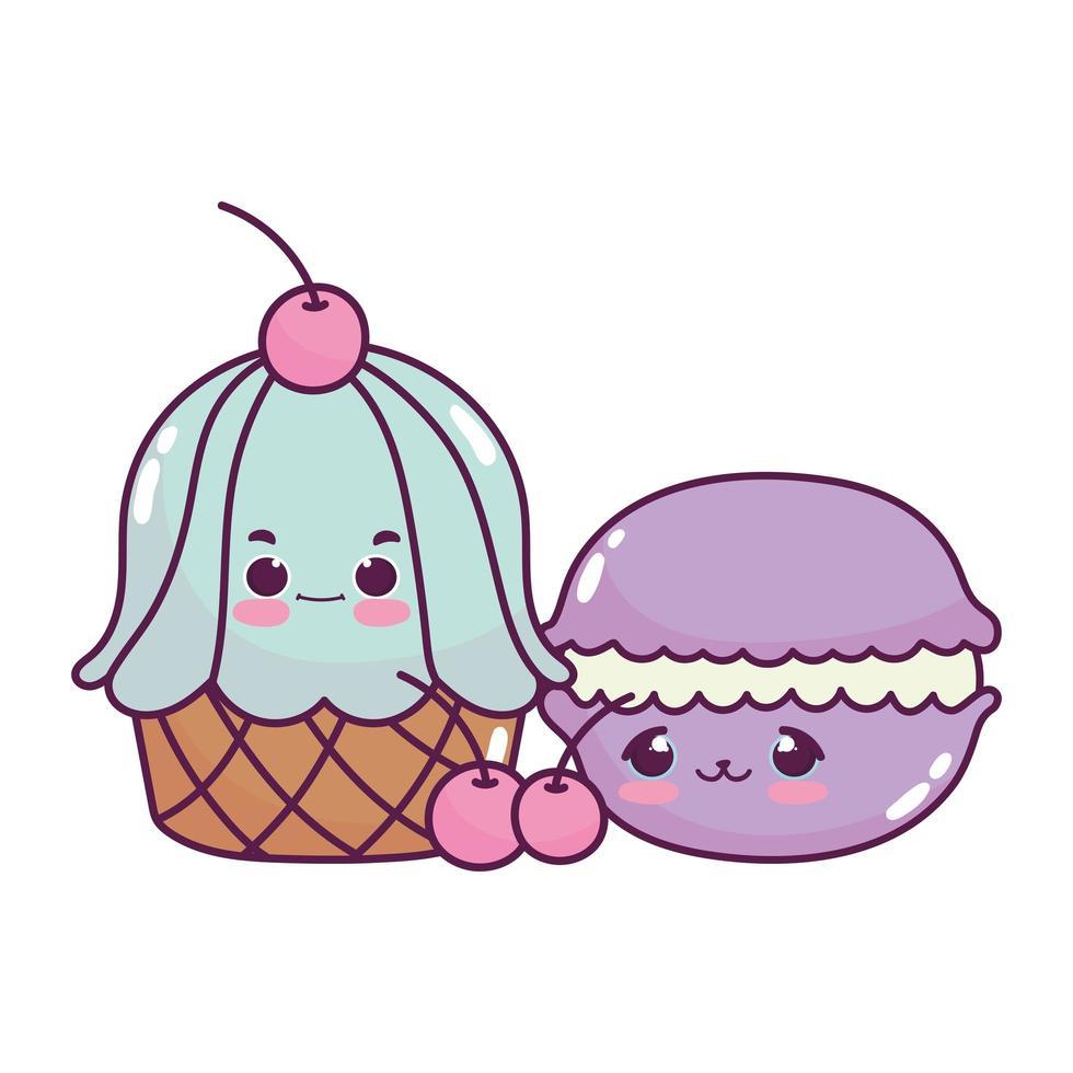 niedliches Essen Cupcake Makrone und Kirschen Obst süßes Dessert Gebäck Cartoon isoliert Design vektor