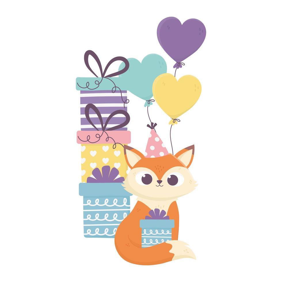 glücklicher Tag, niedlicher Fuchs mit Geschenkboxenballondekoration vektor