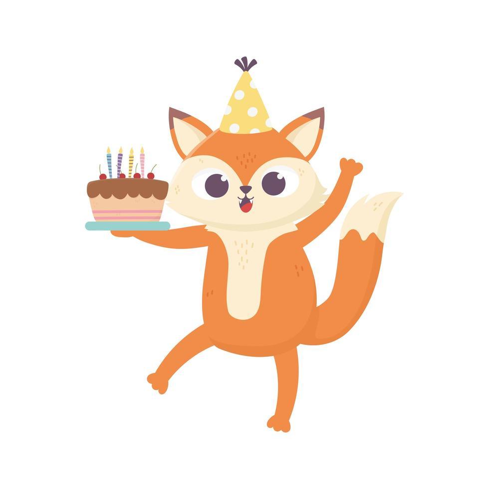 Glücklicher Tag, kleiner Fuchs mit Hut und süßem Kuchen vektor