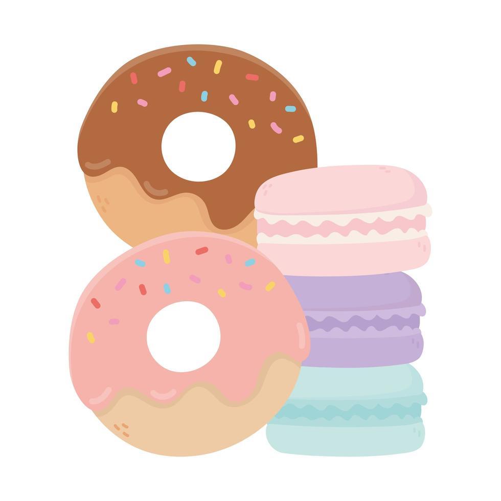 Donuts und Makronen süße Süßigkeiten Süßwaren isolierte Ikone vektor