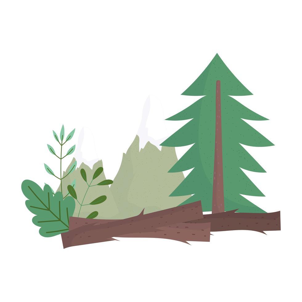 Waldkiefernbüsche Laubvegetation Natur isolierte Ikonendesign vektor