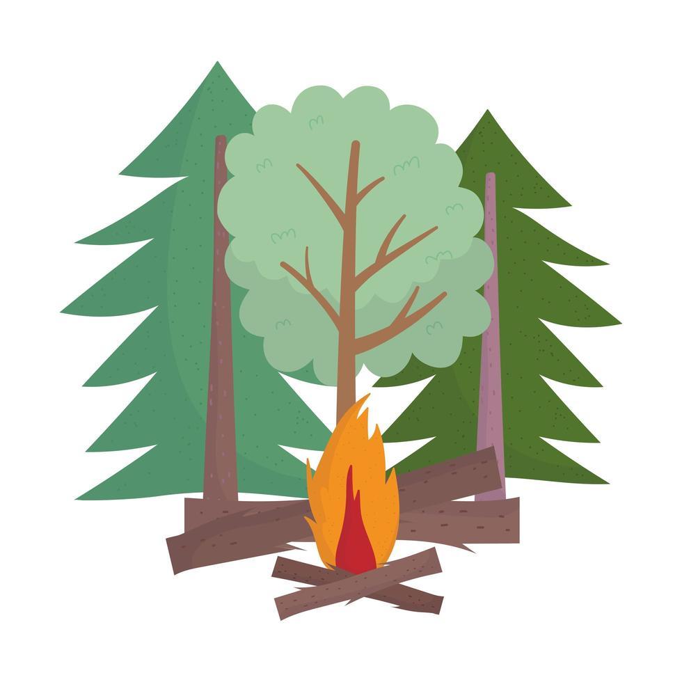Camping Lagerfeuer Bäume Wald Holz Cartoon isoliert Design vektor