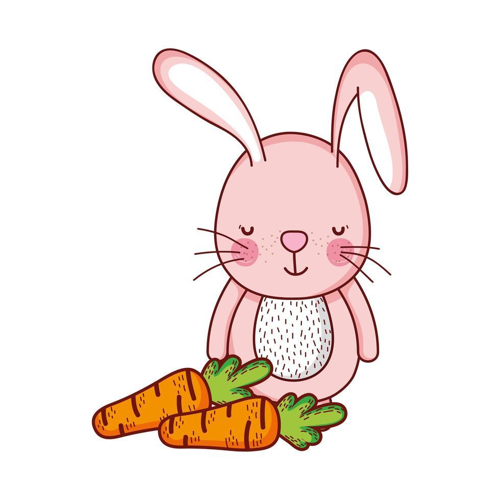 niedliche Tiere, Kaninchen mit Karottenkarikatur lokalisierten Ikonendesign vektor
