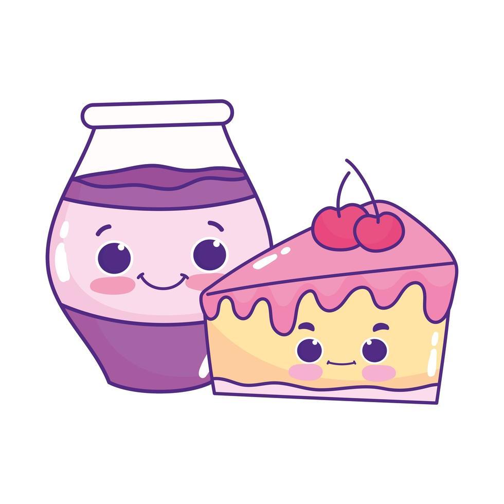 niedliches Essen Scheibe Kuchen und Glas mit Marmelade süßes Dessert Gebäck Cartoon isoliert Design vektor