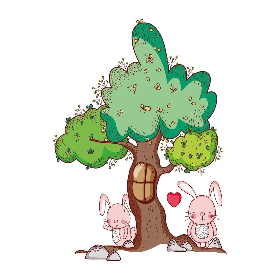 niedliche Tiere, Hasen Baum Laub Natur botanisch isoliert Design vektor