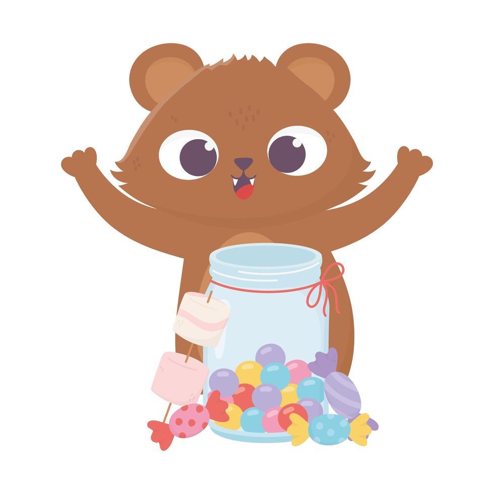 Glücklicher Tag, kleines Bärenglas mit Süßigkeiten und Karamellen vektor